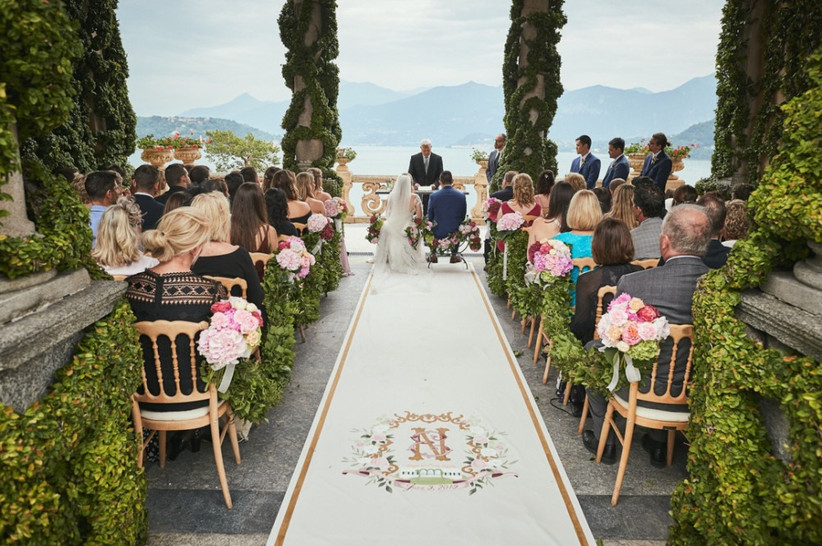 formal outdoor wedding aisle decor custom aisle runner with hand-painted monogram and wedding crest