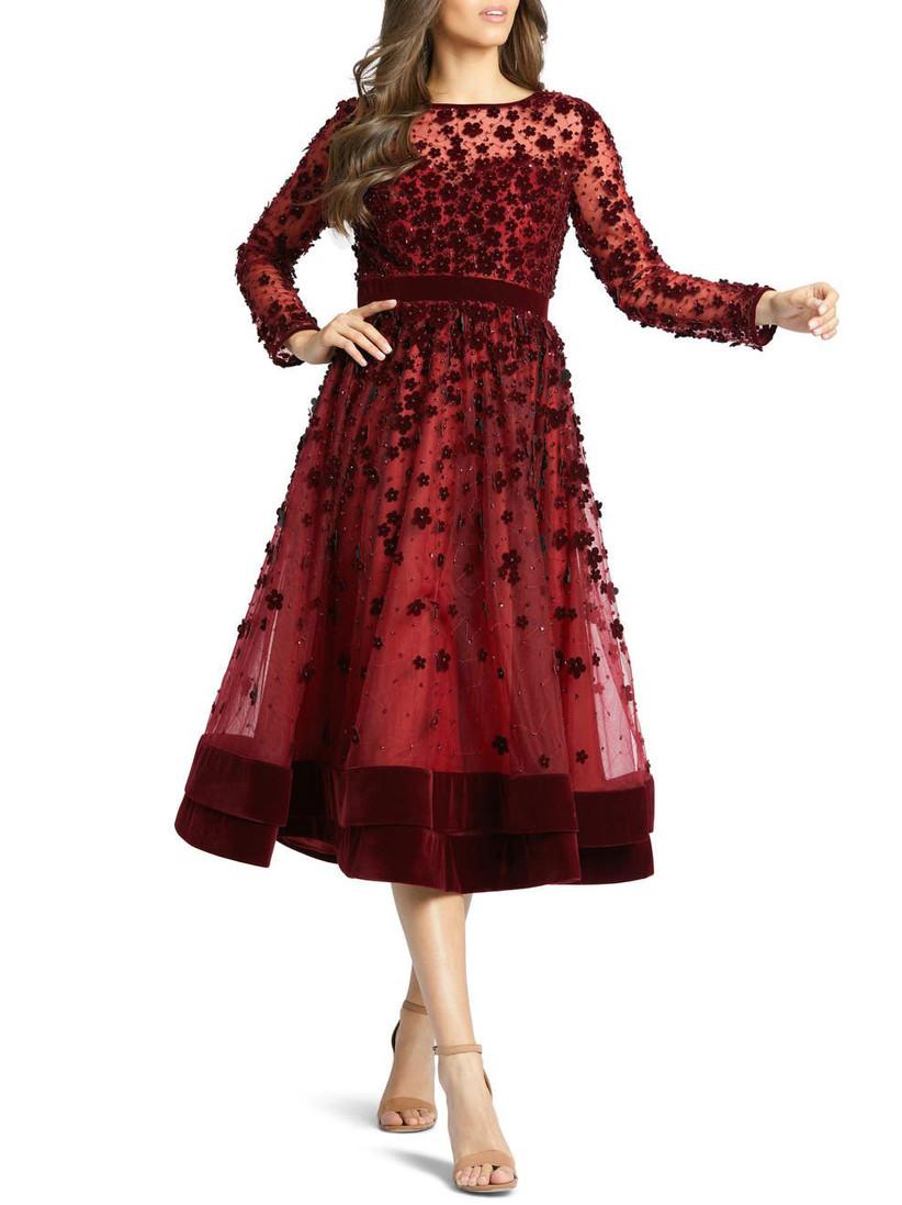 Velvet embellished burgundy cocktail dress for winter wedding guest