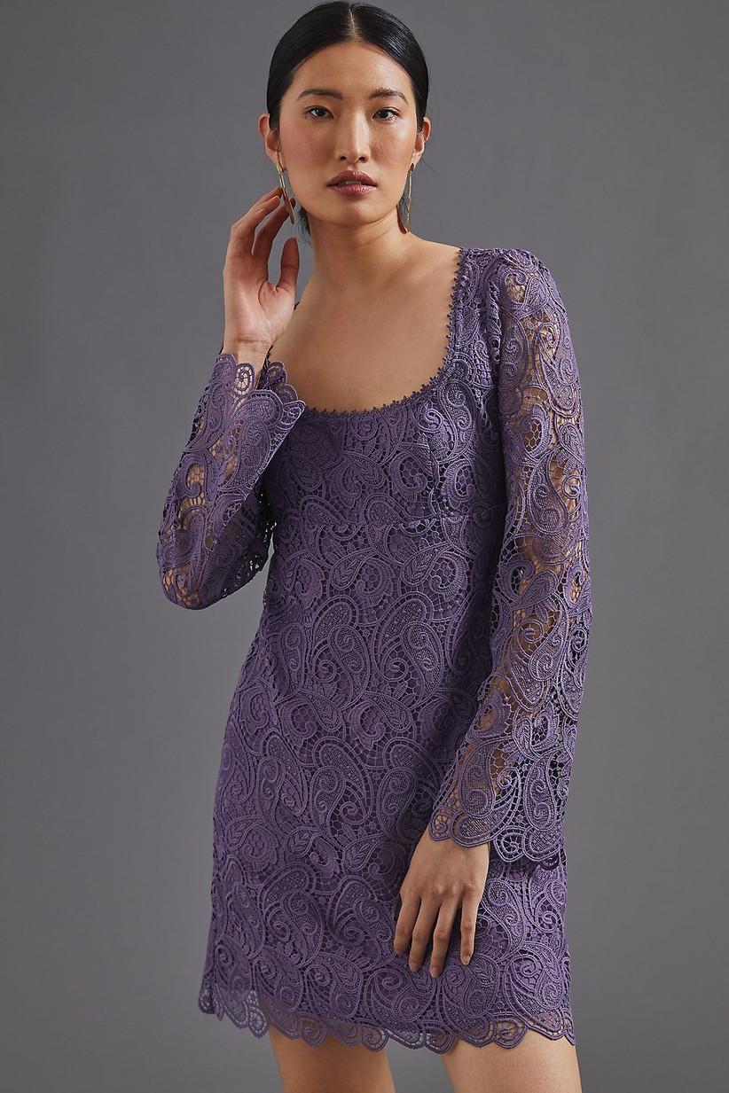 Lavender lace mini dress winter wedding guest outfit