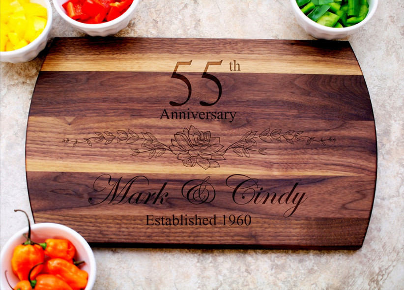 Engraved cutting board 55th anniversary gift