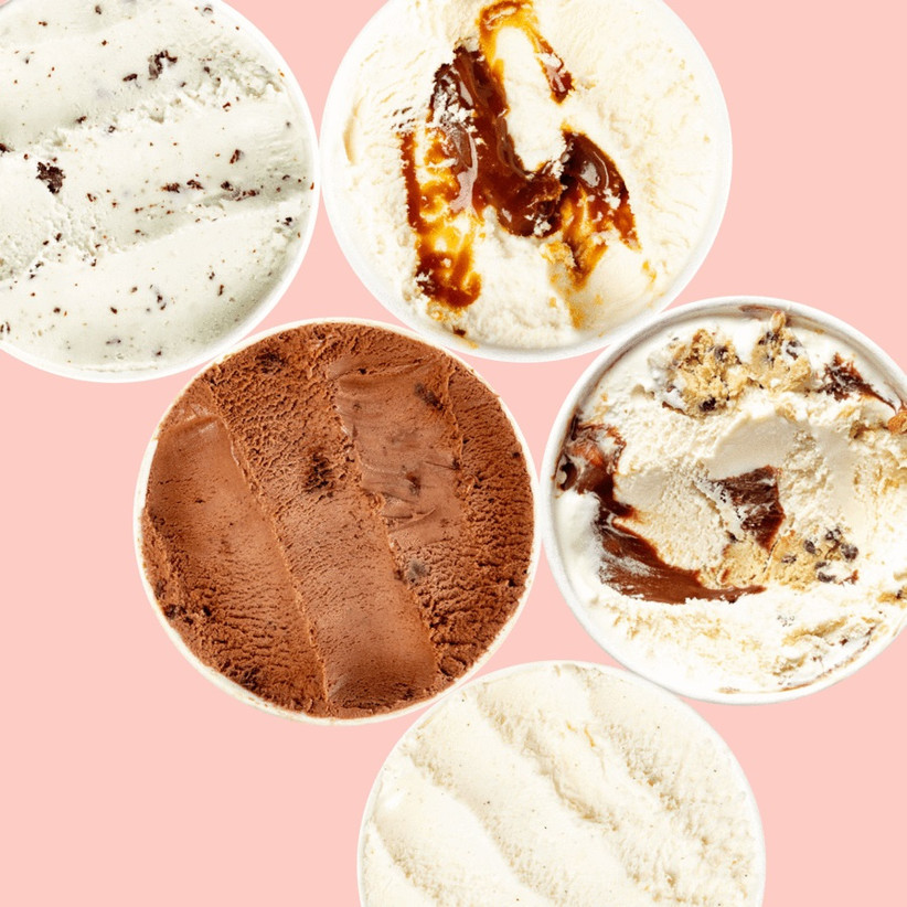 Pints of ice cream in different flavors