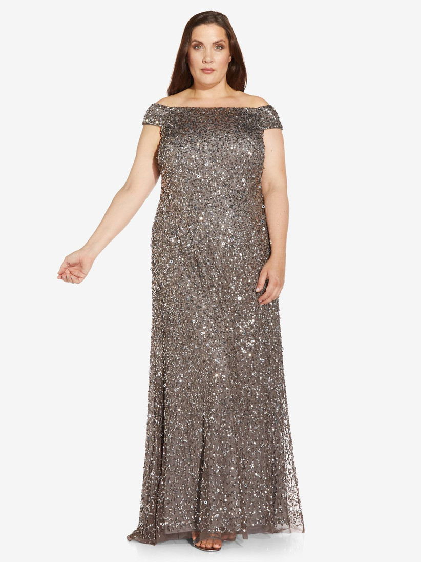 Allover sequin metallic formal winter wedding guest dress