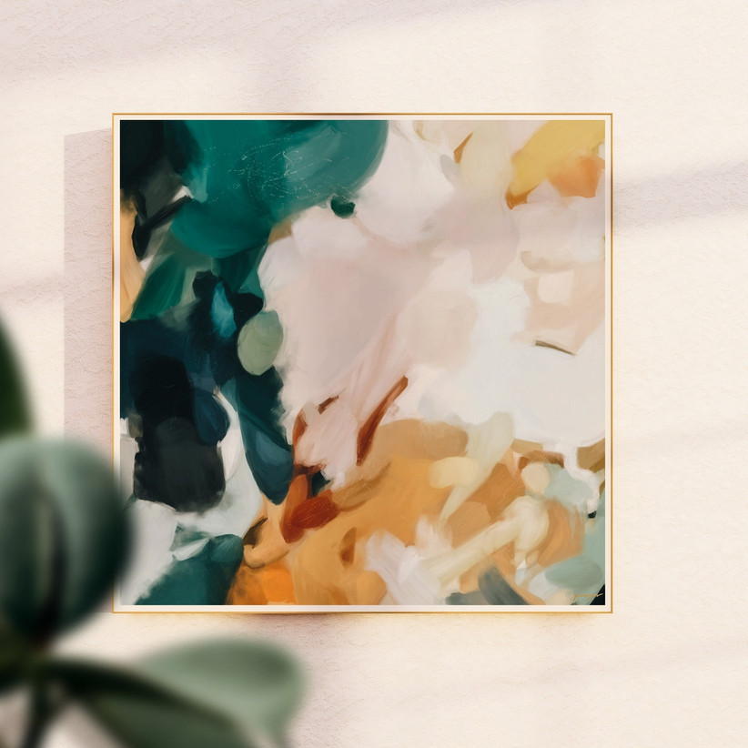 abstract art print with emerald colors
