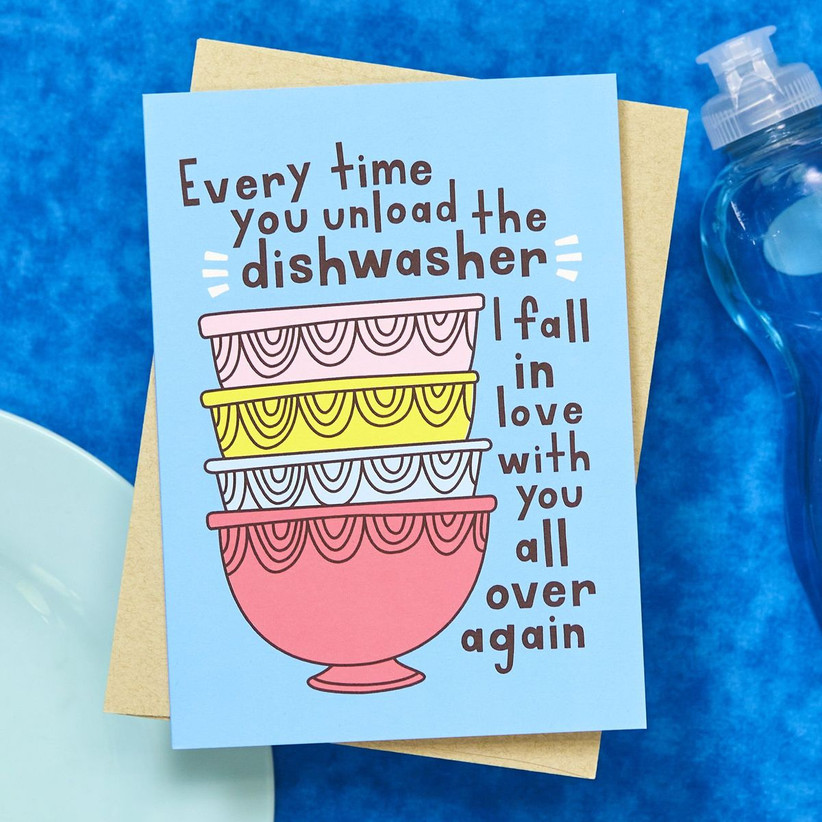Funny dishwasher themed anniversary card