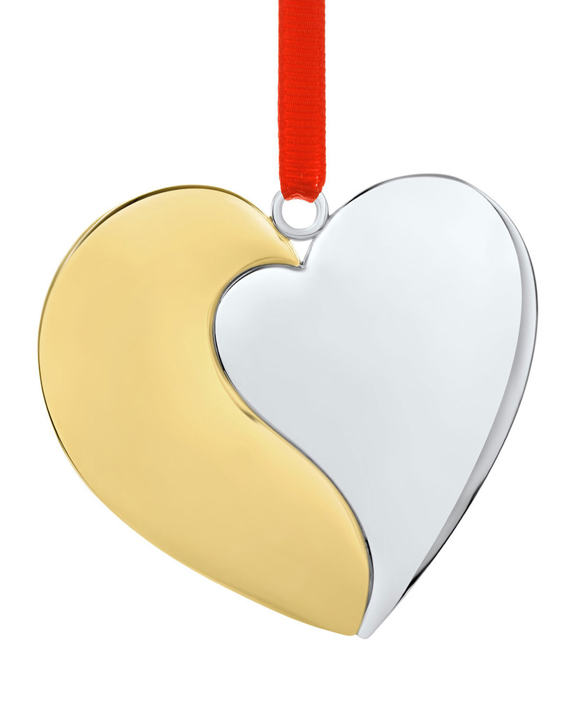 silver and gold heart shaped christmas ornament with red ribbon