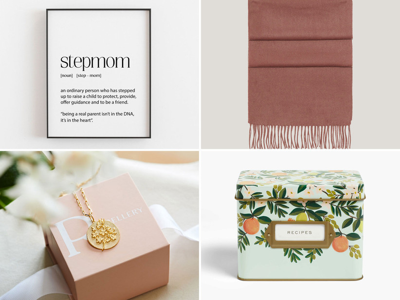 Collage of four stepmom gift ideas