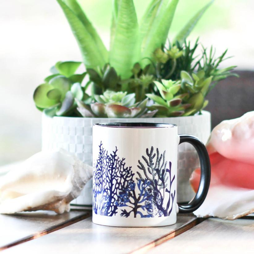 Coral-inspired coffee mug traditional 35th anniversary gift