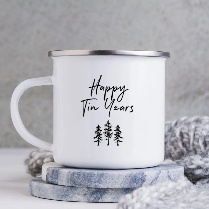 10 year anniversary gift tin coffee mug that says
