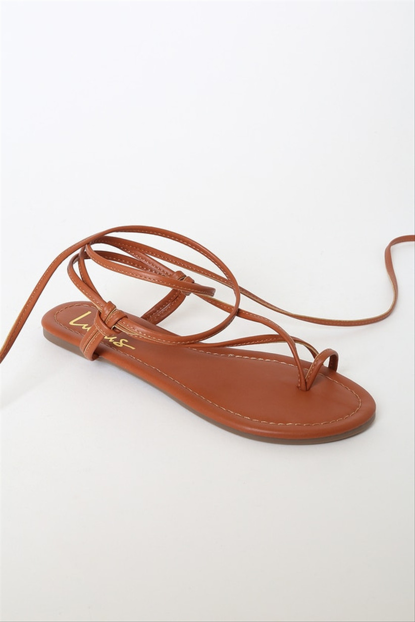 brown lace-up beach wedding sandals with ankle ties