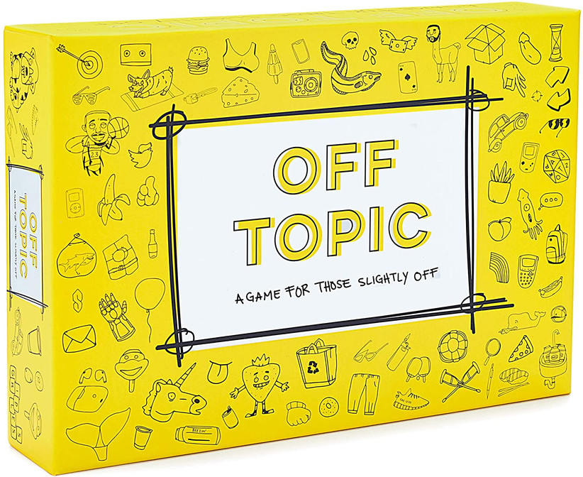 Yellow Off Topic board game box with lots of small illustrations