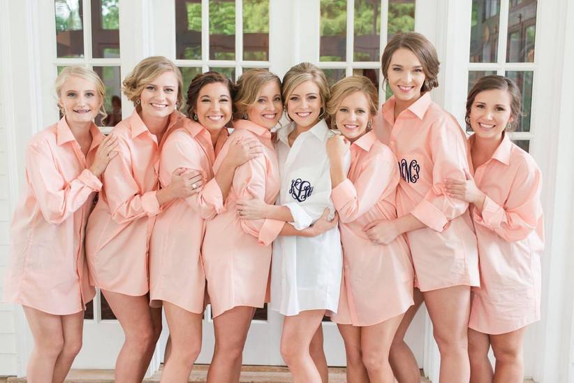 bridesmaids wearing button down shirts