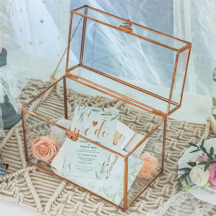 rectangular copper and glass wedding card box