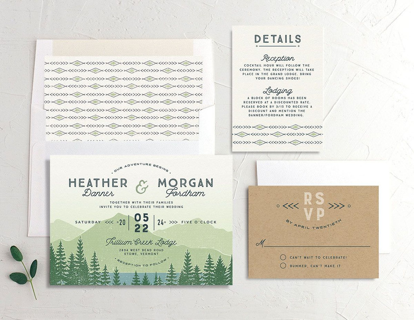 rustic summer wedding invitation suite with mountain forest scene in light green and brown design