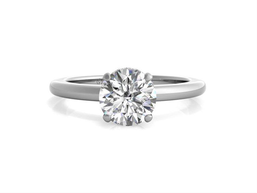 Simple solitaire diamond ring round cut white gold