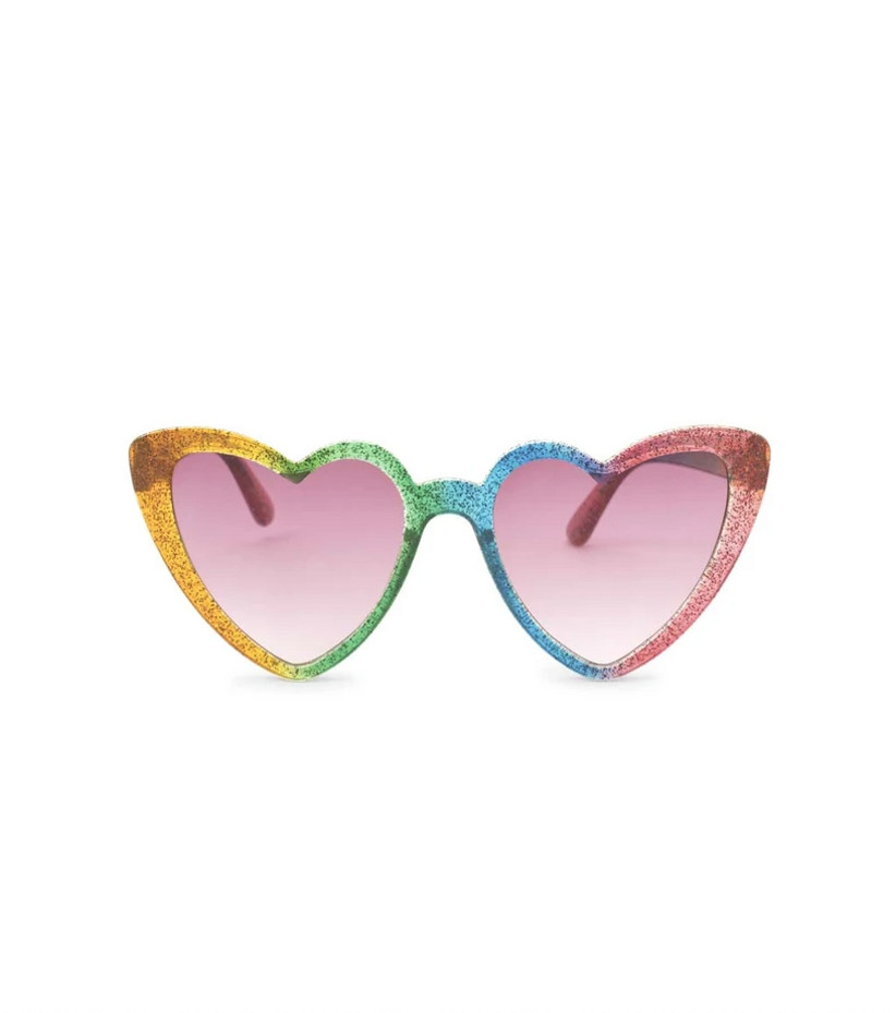 heart-shaped sunglasses in rainbow glitter pattern