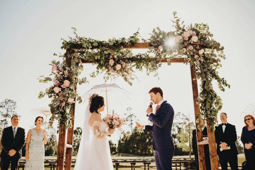 couple reciting wedding vows