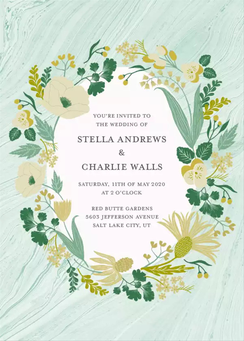whimsical spring wedding invitation with yellow flower border