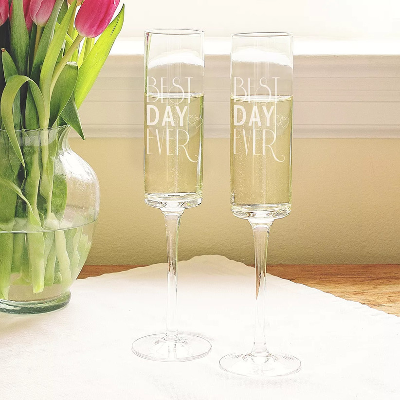 Best Day Ever matching wedding champagne glasses