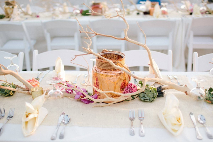 driftwood beach wedding centerpiece with succulents and pink orchids