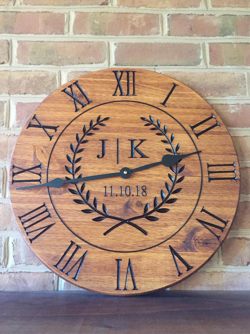 Custom wooden clock gift for newlyweds