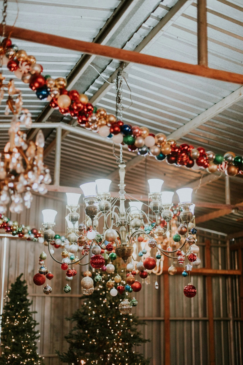 wedding chandelier decorated with christmas ornaments