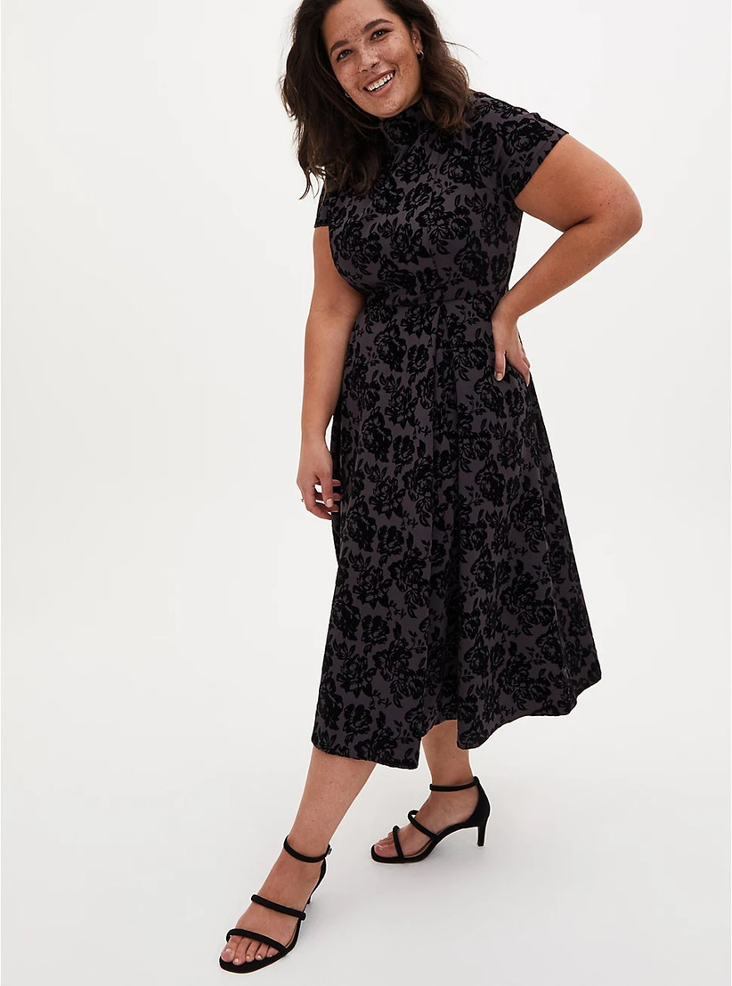 Grey and black floral rehearsal dinner dress