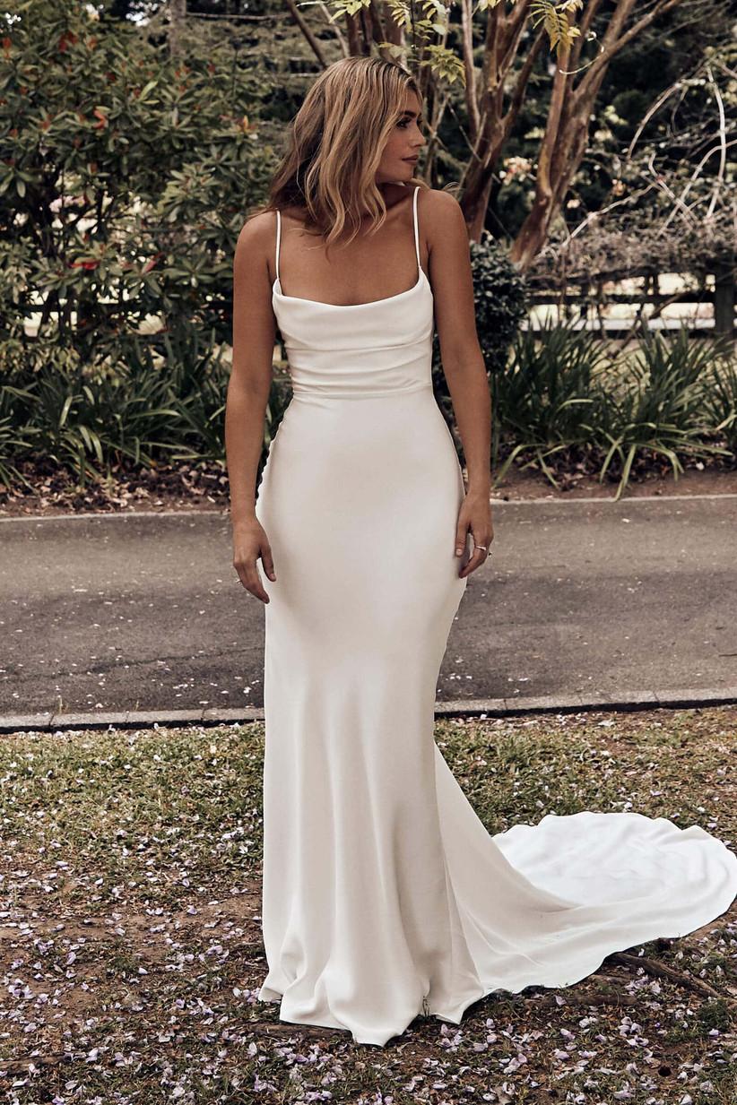 Model wearing timeless silk slip wedding gown