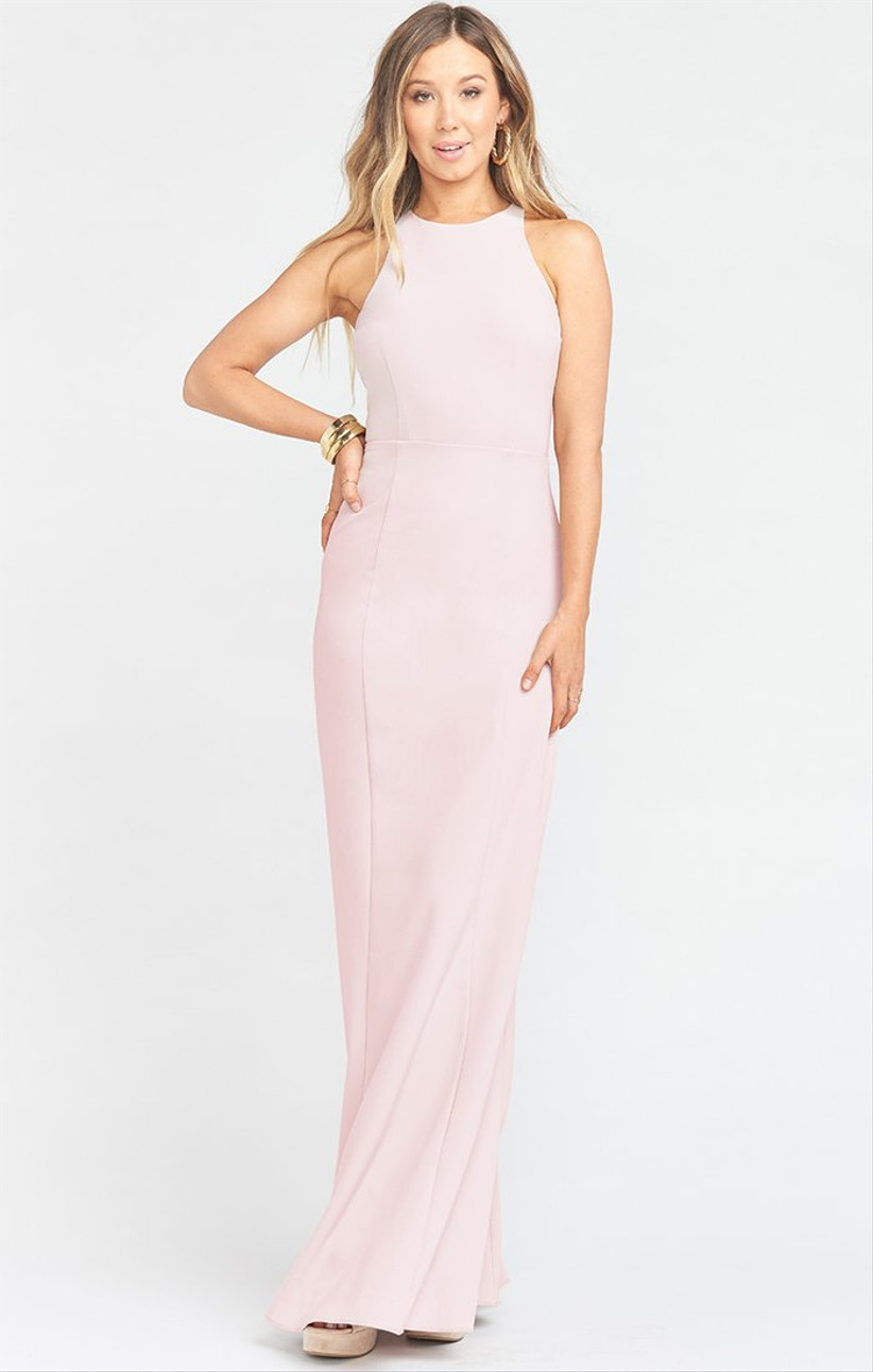 fitted pink bridesmaid dress with high neckline