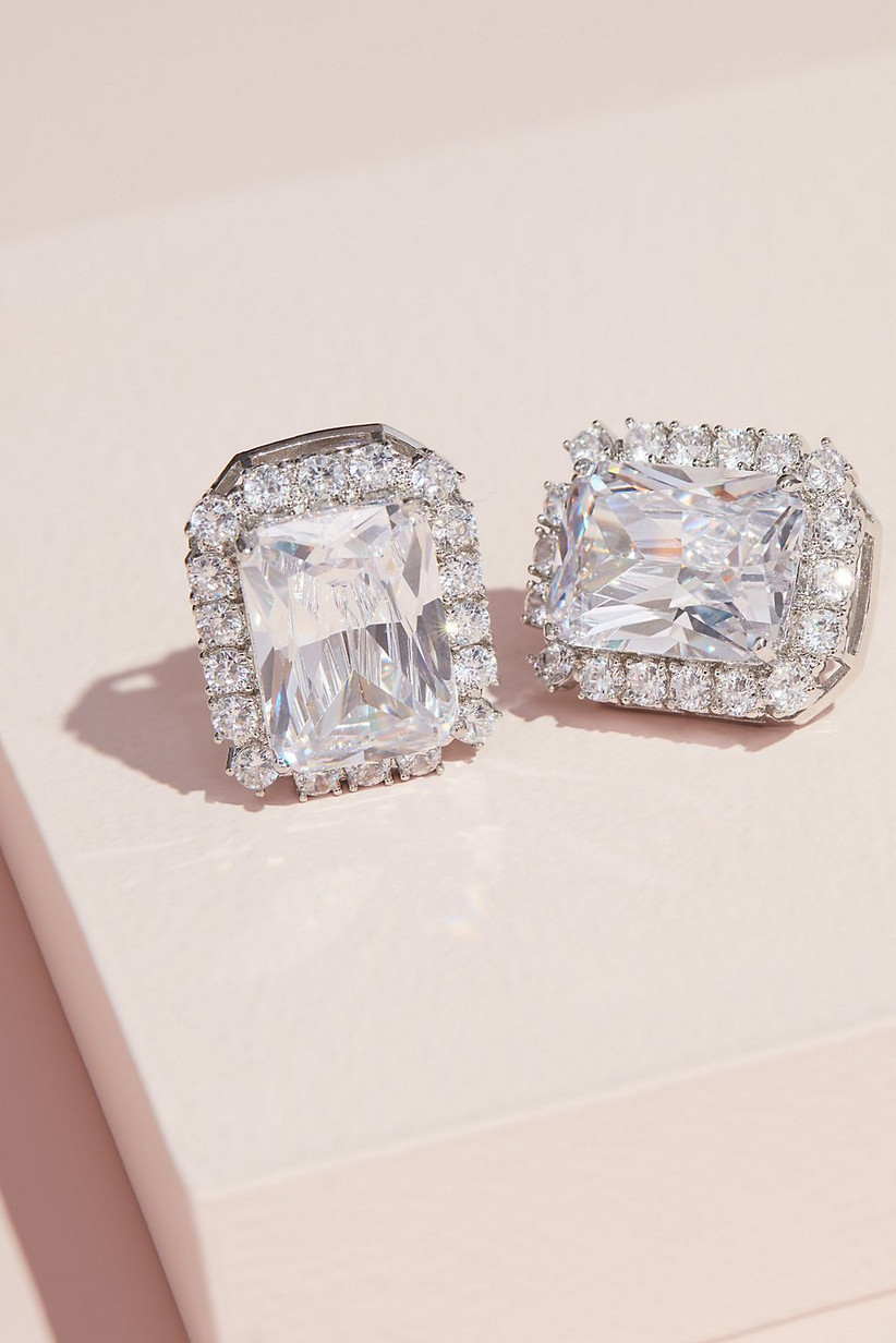 Vintage emerald-cut crystal clip-on bridesmaid earrings