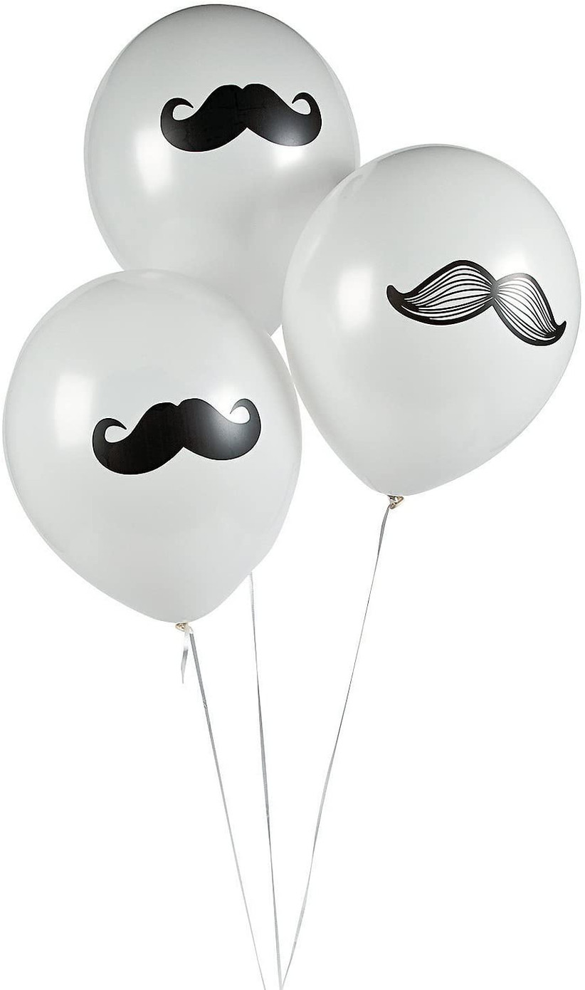 white balloons with mustaches printed on them