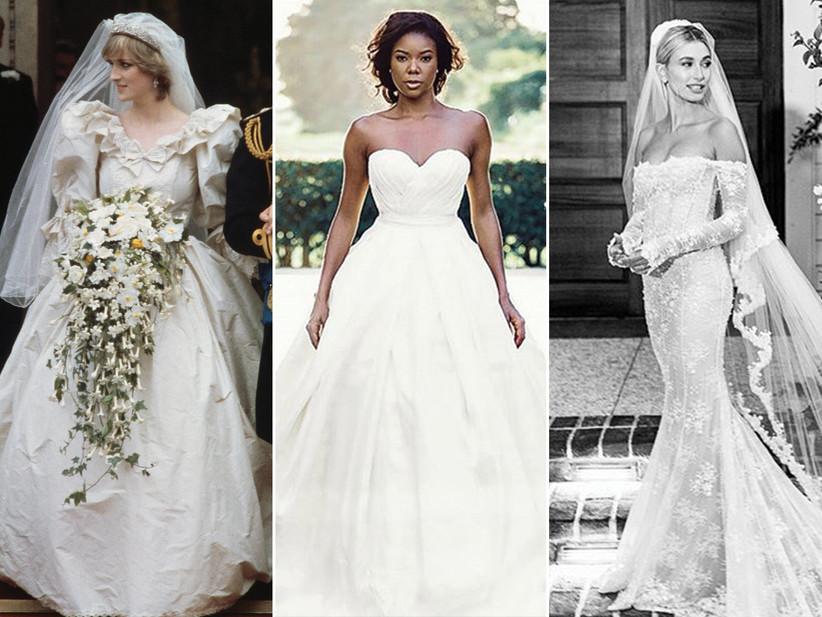 Princess Diana's wedding dress; Gabrielle Union's wedding dress; Hailey Baldwin's wedding dress