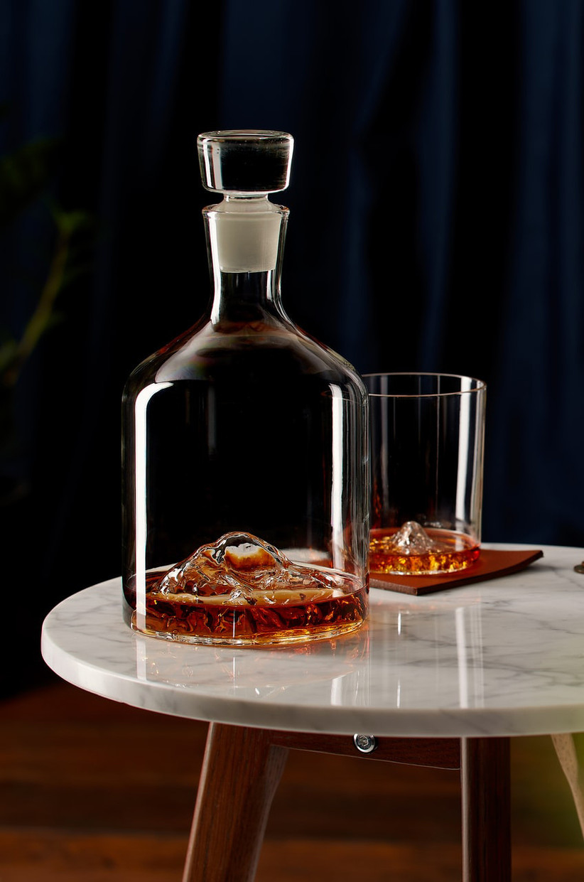 Unique mountain peak whiskey decanter and glass set father of the bride gift