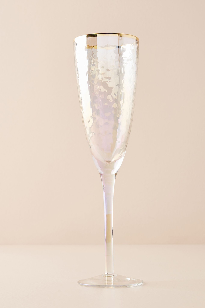 iridescent champagne flute engagement gift