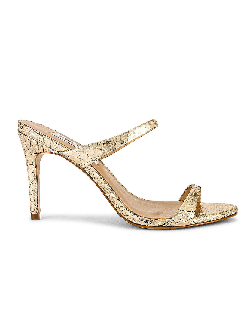slip-on gold stiletto sandal with faux croc leather print