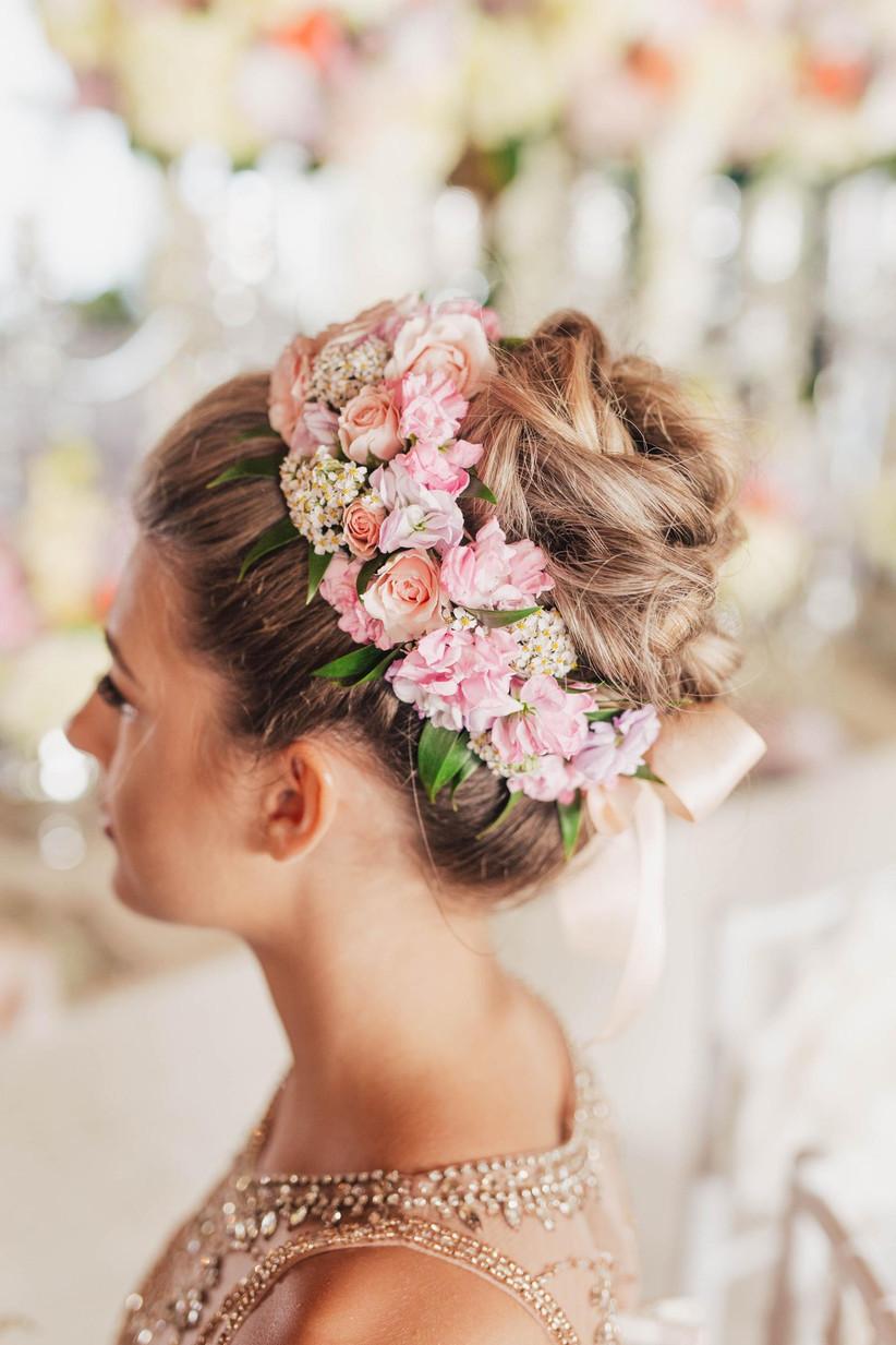 spring wedding idea floral hair updo