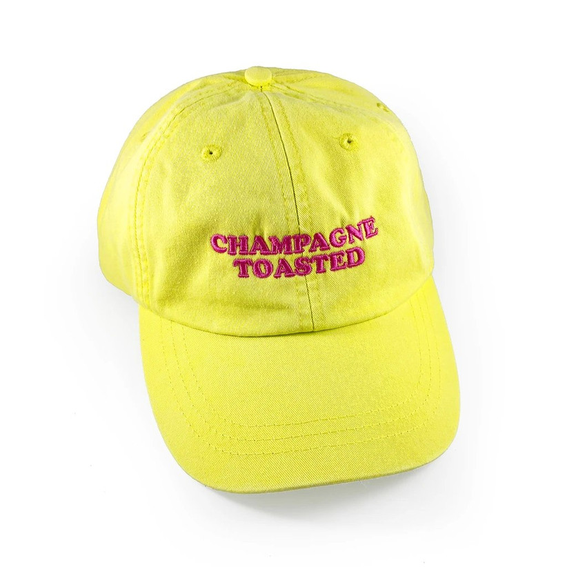 bright yellow baseball hat embroidered with