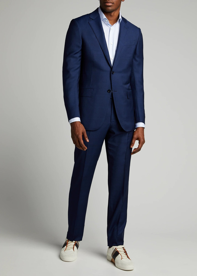 Classic navy suit with breathable wool-silk blend