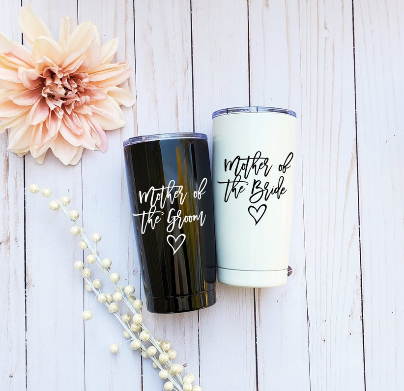 Black and white Mother of the Bride and Mother of the Groom travel coffee mugs