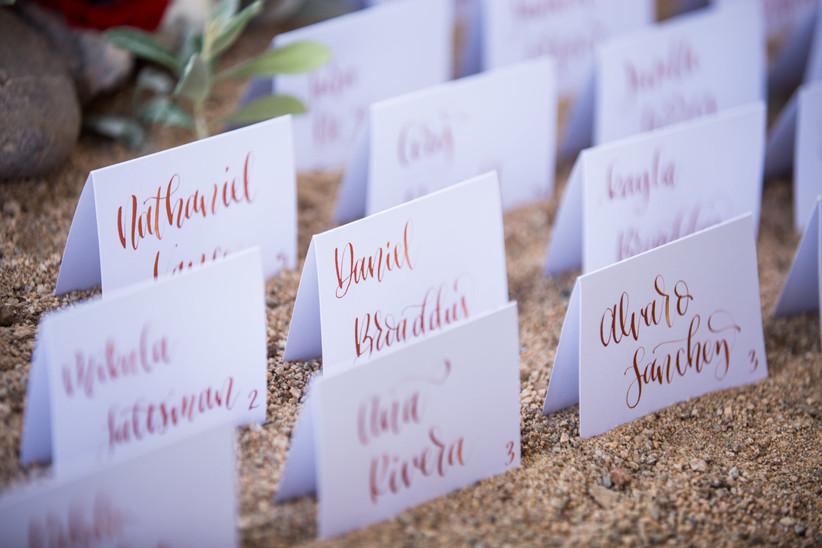 calligraphy wedding escort cards