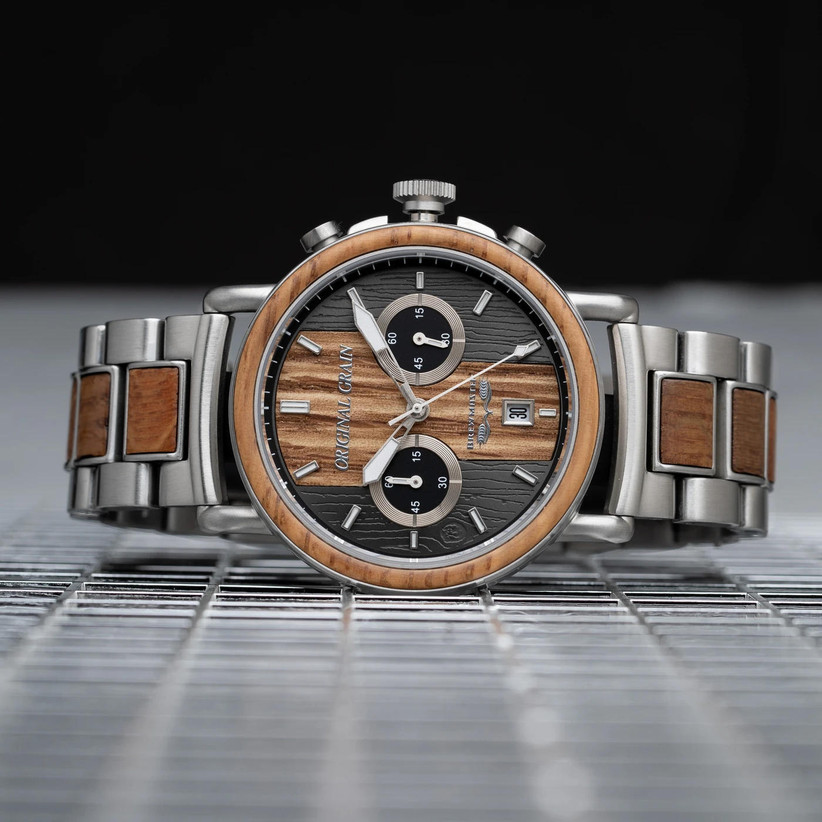 Stainless steel and oak engagement watch from Original Grain