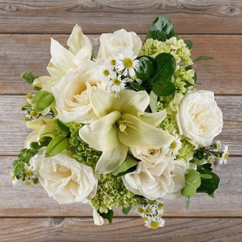 bouquet of green and white hydrangeas and roses