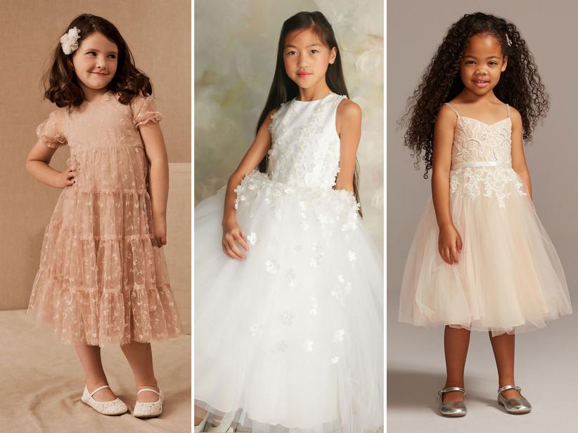 blush white ivory flower girl dresses