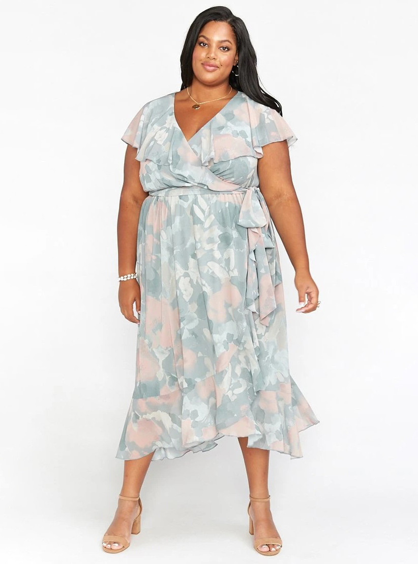 Muted pastel faux wrap dress for summer wedding