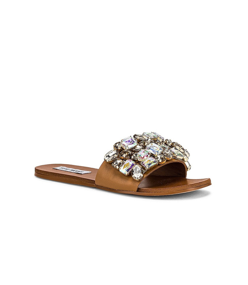 brown slip-on beach wedding sandals with beaded rhinestone colorful strap