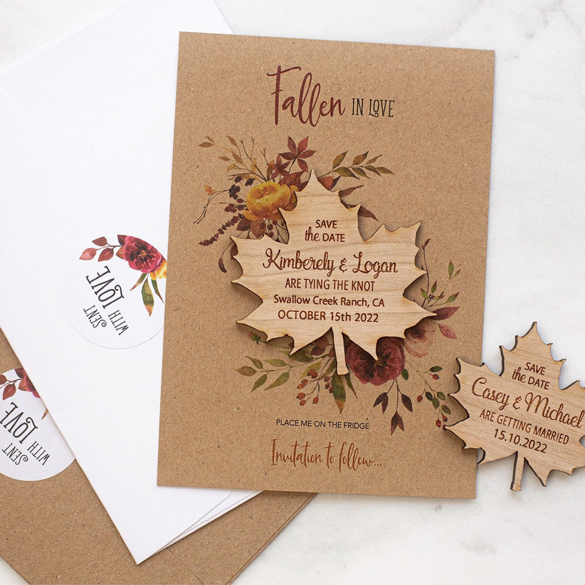 fall save the dates leaf wooden magnet