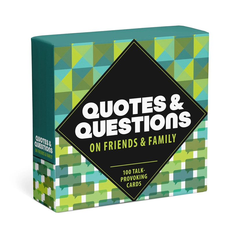 Green patterned box for Quotes & Questions cards