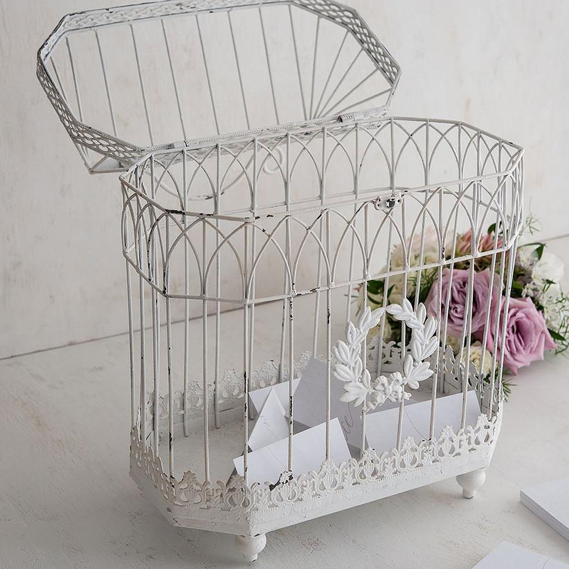 white distressed wire antique-style birdcage wedding card box