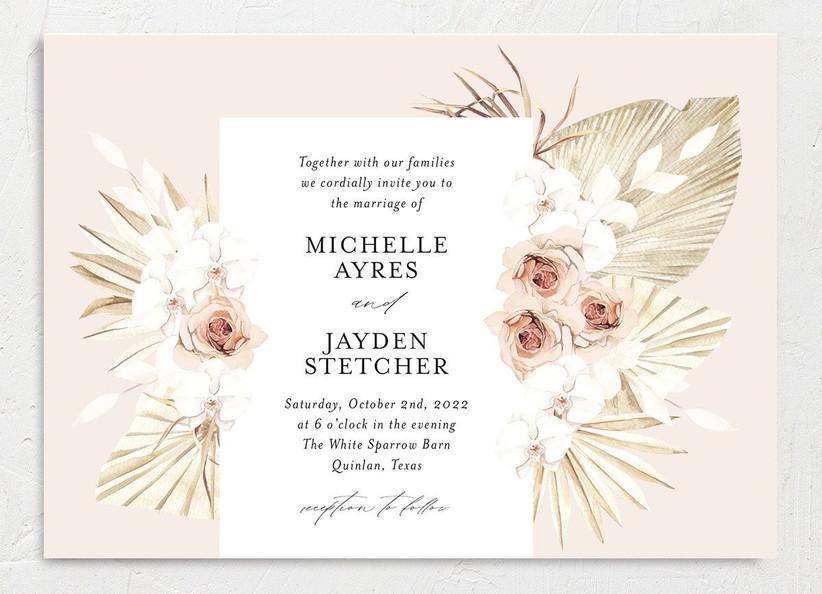 boho summer wedding invitation with blush background and dried flower motifs