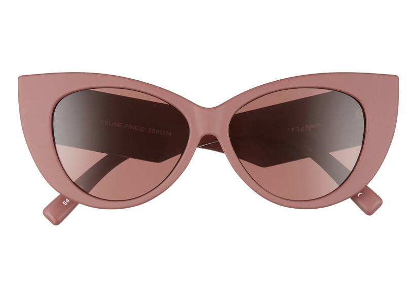 oversized vintage-inspired cat-eye sunglasses in mauve pink