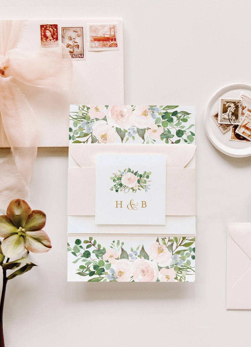 romantic spring wedding invitation with blush and greenery watercolor design and monogram